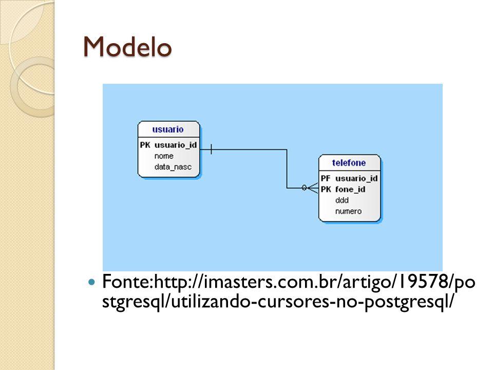 Modelo Fonte:http://imasters.com.br/artigo/19578/po stgresql/utilizando-cursores-no-postgresql/