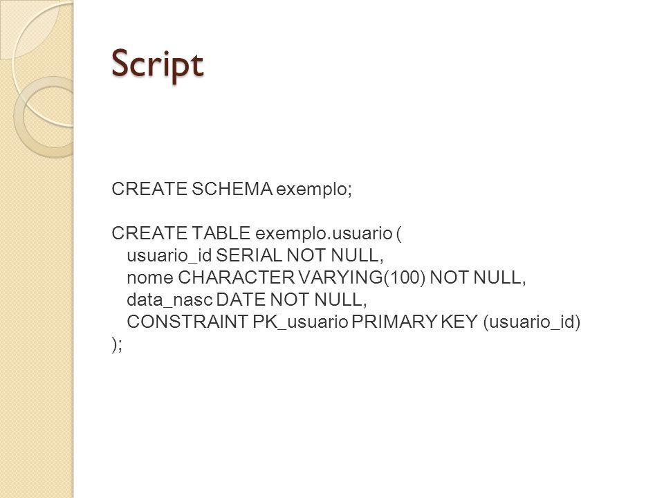 Script CREATE TABLE exemplo.telefone ( usuario_id INTEGER NOT NULL, fone_id INTEGER NOT NULL, ddd CHARACTER VARYING(2) NOT NULL, numero CHARACTER VARYING(10) NOT NULL, CONSTRAINT PK_telefone PRIMARY KEY (usuario_id,fone_id) ); ALTER TABLE exemplo.telefone ADD CONSTRAINT usuario_telefone FOREIGN KEY (usuario_id) REFERENCES exemplo.usuario (usuario_id);