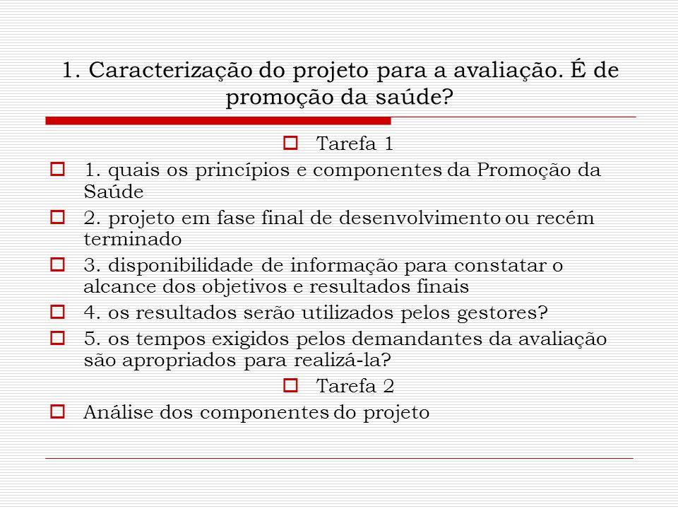1. Caracterização do projeto para a avaliação. É de promoção da saúde?  Tarefa 1  1. quais os princípios e componentes da Promoção da Saúde  2. pro