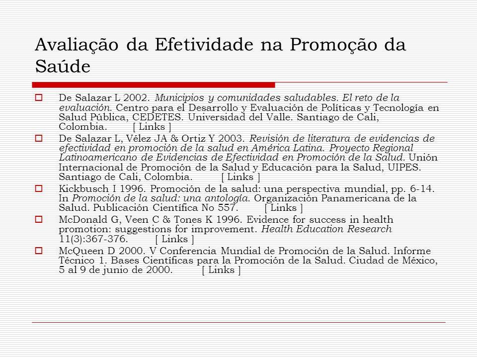 Avaliação da Efetividade na Promoção da Saúde  De Salazar L 2002. Municipios y comunidades saludables. El reto de la evaluación. Centro para el Desar