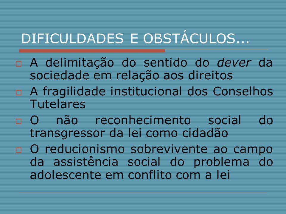 DIFICULDADES E OBSTÁCULOS...  A delimitação do sentido do dever da sociedade em relação aos direitos  A fragilidade institucional dos Conselhos Tute