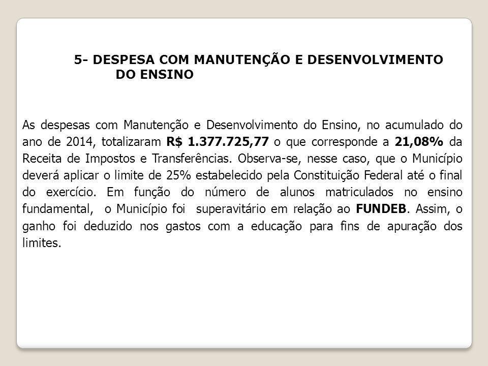 5- DESPESA COM MANUTENÇÃO E DESENVOLVIMENTO DO ENSINO As despesas com Manutenção e Desenvolvimento do Ensino, no acumulado do ano de 2014, totalizaram