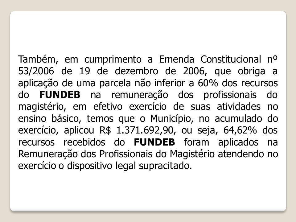 Também, em cumprimento a Emenda Constitucional nº 53/2006 de 19 de dezembro de 2006, que obriga a aplicação de uma parcela não inferior a 60% dos recu