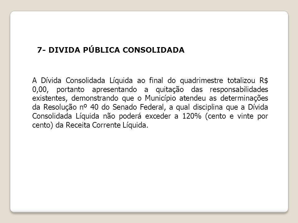 7- DIVIDA PÚBLICA CONSOLIDADA A Dívida Consolidada Líquida ao final do quadrimestre totalizou R$ 0,00, portanto apresentando a quitação das responsabi