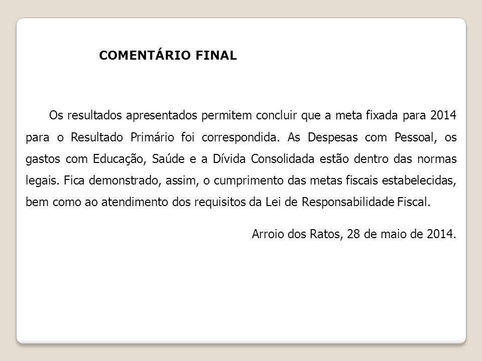 COMENTÁRIO FINAL Os resultados apresentados permitem concluir que a meta fixada para 2014 para o Resultado Primário foi correspondida. As Despesas com