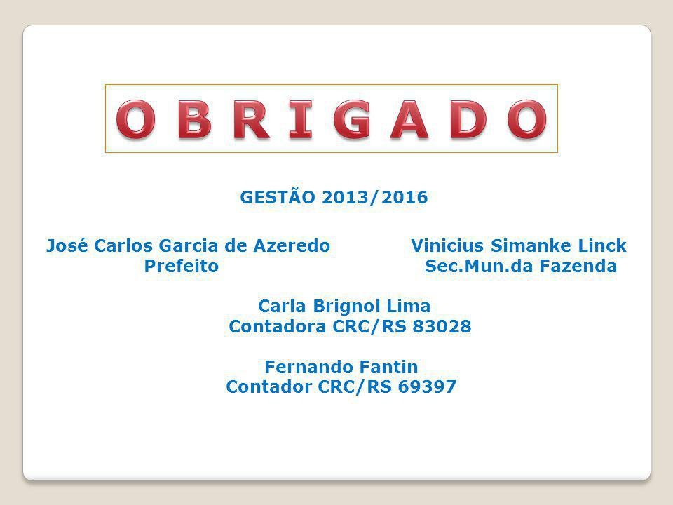 GESTÃO 2013/2016 José Carlos Garcia de Azeredo Vinicius Simanke Linck Prefeito Sec.Mun.da Fazenda Carla Brignol Lima Contadora CRC/RS 83028 Fernando F