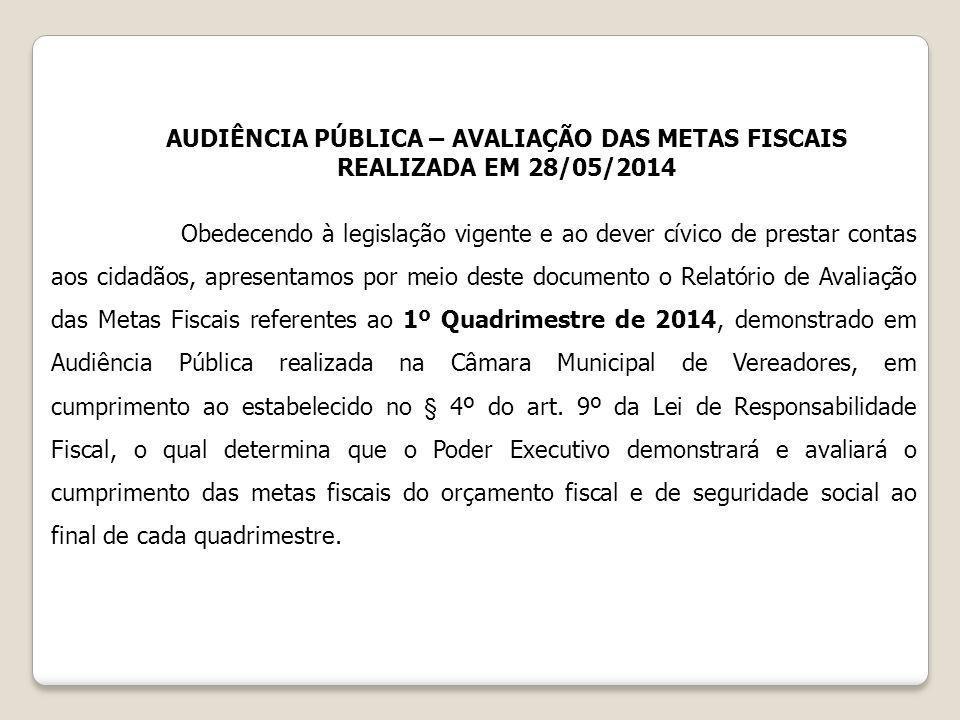 AUDIÊNCIA PÚBLICA – AVALIAÇÃO DAS METAS FISCAIS REALIZADA EM 28/05/2014 Obedecendo à legislação vigente e ao dever cívico de prestar contas aos cidadã