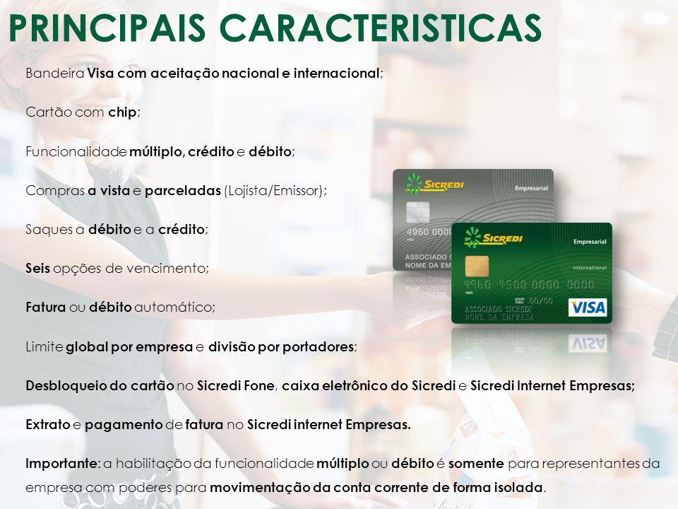 Classificação da Informação: Uso Irrestrito Bandeira Visa com aceitação nacional e internacional ; Cartão com chip ; Funcionalidade múltiplo, crédito