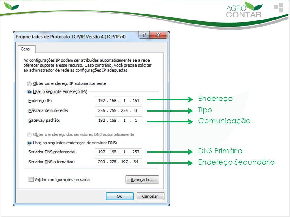 Endereço Tipo Comunicação DNS Primário Endereço Secundário