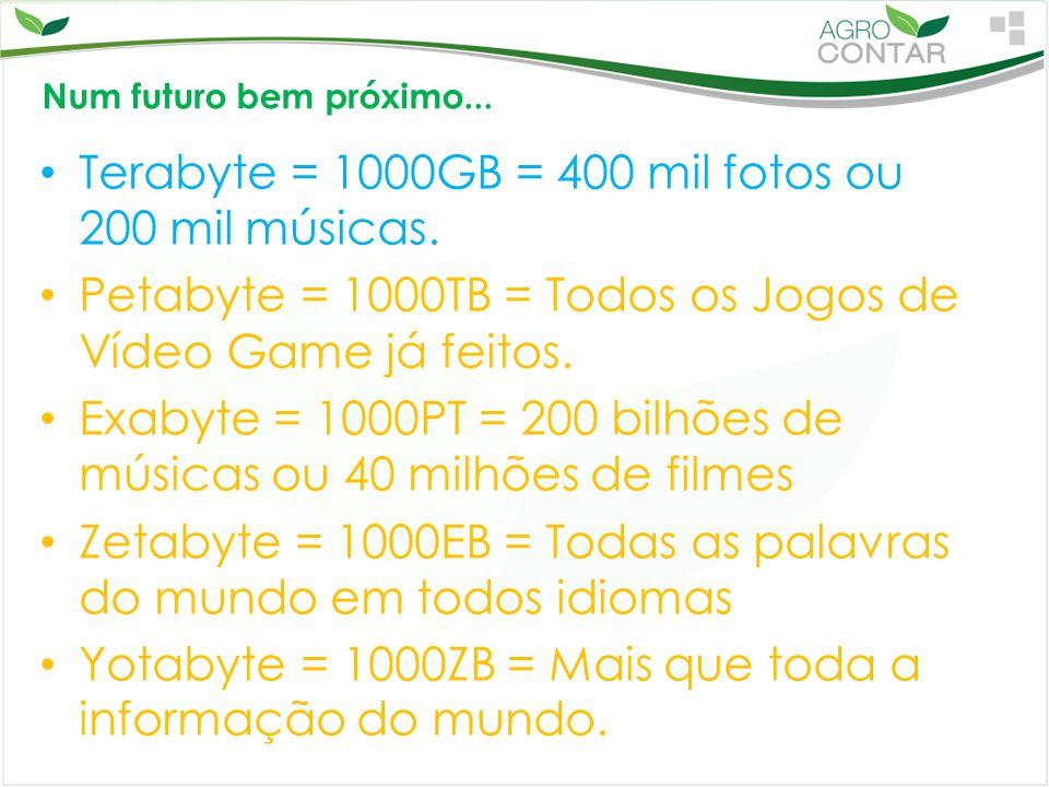 Num futuro bem próximo... Terabyte = 1000GB = 400 mil fotos ou 200 mil músicas. Petabyte = 1000TB = Todos os Jogos de Vídeo Game já feitos. Exabyte =