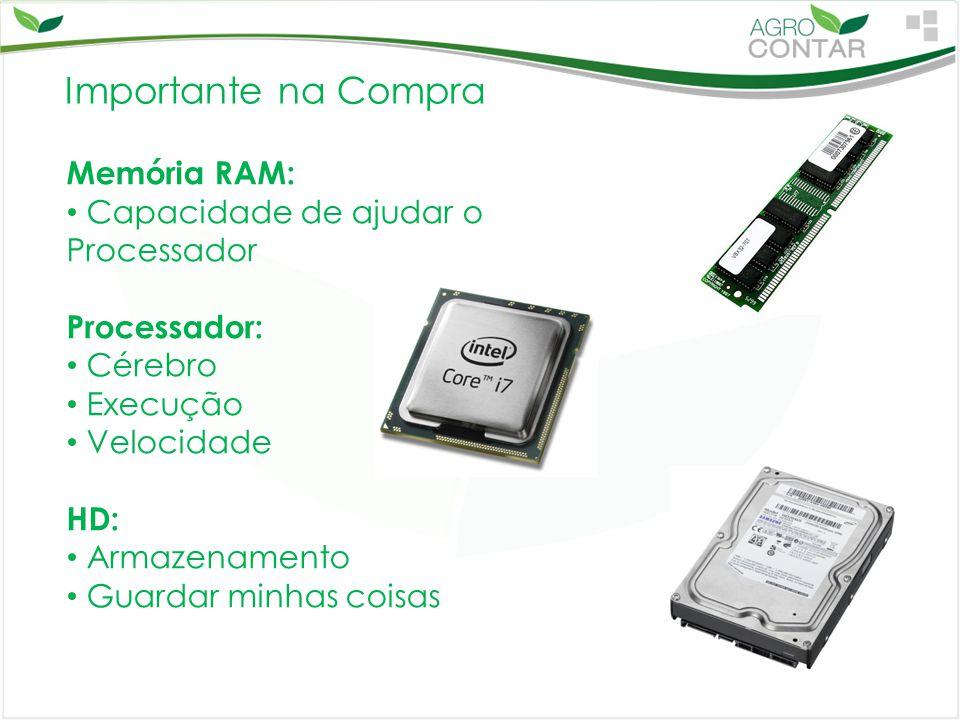 Importante na Compra Memória RAM: Capacidade de ajudar o Processador Processador: Cérebro Execução Velocidade HD: Armazenamento Guardar minhas coisas