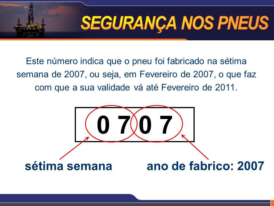 Este número indica que o pneu foi fabricado na sétima semana de 2007, ou seja, em Fevereiro de 2007, o que faz com que a sua validade vá até Fevereiro