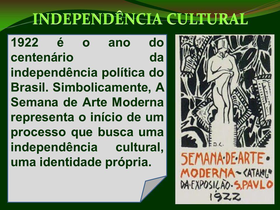 1922 é o ano do centenário da independência política do Brasil. Simbolicamente, A Semana de Arte Moderna representa o início de um processo que busca
