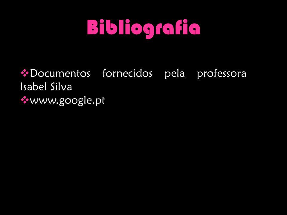 Bibliografia  Documentos fornecidos pela professora Isabel Silva  www.google.pt