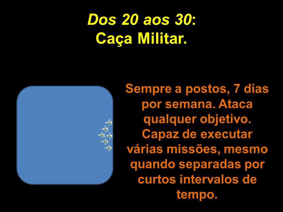 Dos 20 aos 30: Caça Militar.Sempre a postos, 7 dias por semana.