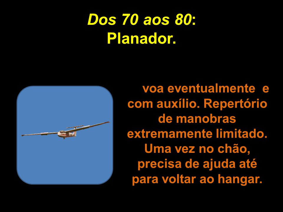 Dos 60 aos 70: Asa Delta. Exige excelentes condições externas para alçar vôo. Dá um trabalho enorme para decolar e, depois, evita manobras bruscas par