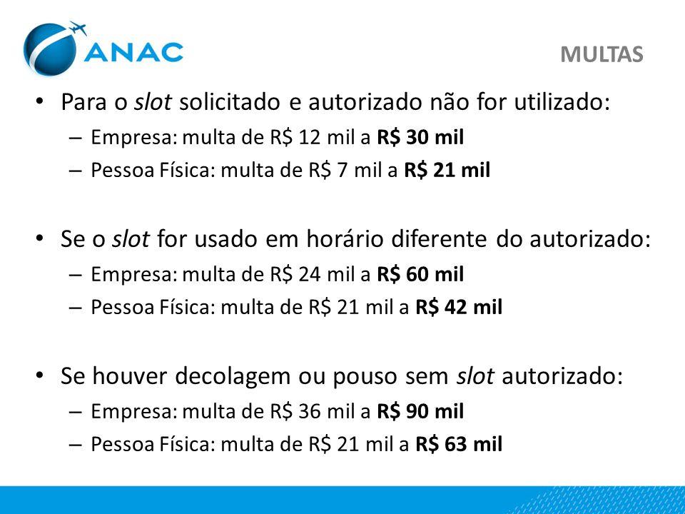 MULTAS Para o slot solicitado e autorizado não for utilizado: – Empresa: multa de R$ 12 mil a R$ 30 mil – Pessoa Física: multa de R$ 7 mil a R$ 21 mil