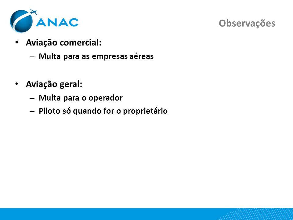 Observações Aviação comercial: – Multa para as empresas aéreas Aviação geral: – Multa para o operador – Piloto só quando for o proprietário