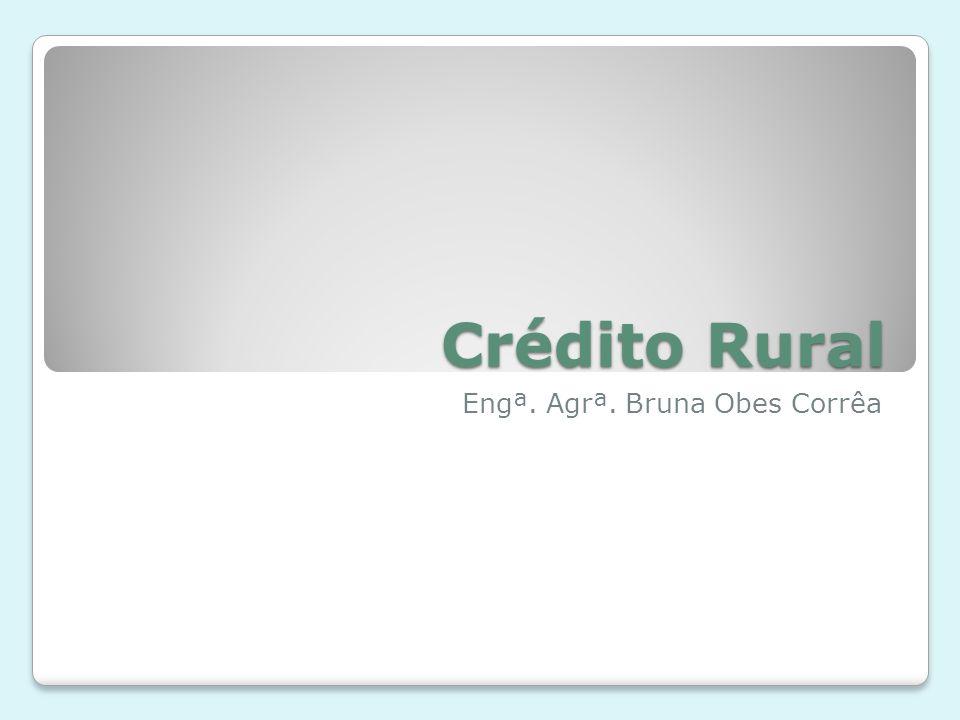 O crédito rural financia o custeio da produção e da comercialização de produtos agropecuários, estimula os investimentos rurais, incluindo armazenamento, beneficiamento e industrialização dos produtos agrícolas.