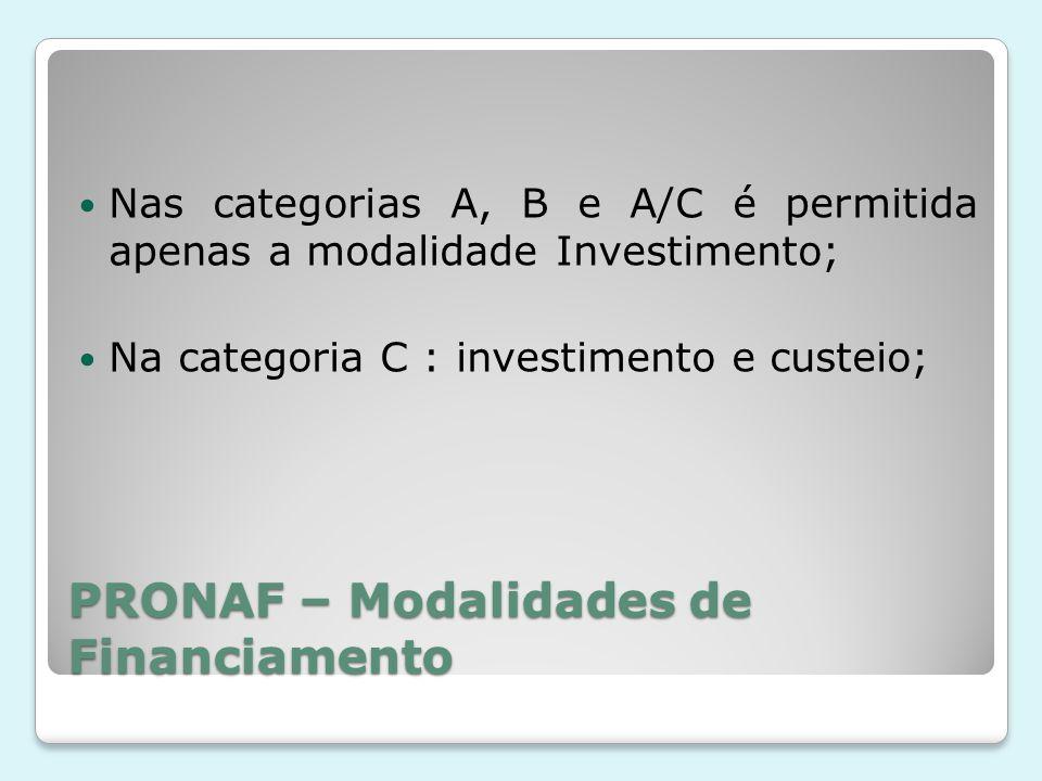 PRONAF – Modalidades de Financiamento Nas categorias A, B e A/C é permitida apenas a modalidade Investimento; Na categoria C : investimento e custeio;