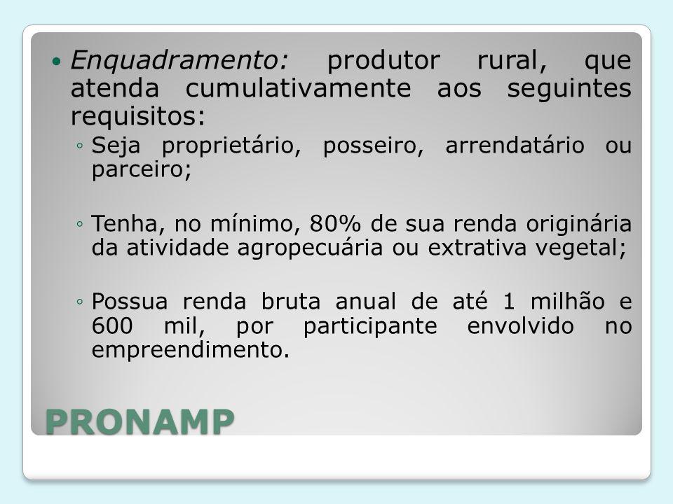PRONAMP Enquadramento: produtor rural, que atenda cumulativamente aos seguintes requisitos: ◦Seja proprietário, posseiro, arrendatário ou parceiro; ◦T