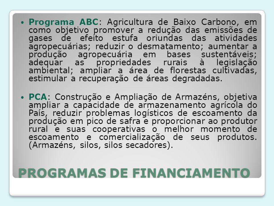 PROGRAMAS DE FINANCIAMENTO Programa ABC: Agricultura de Baixo Carbono, em como objetivo promover a redução das emissões de gases de efeito estufa oriu