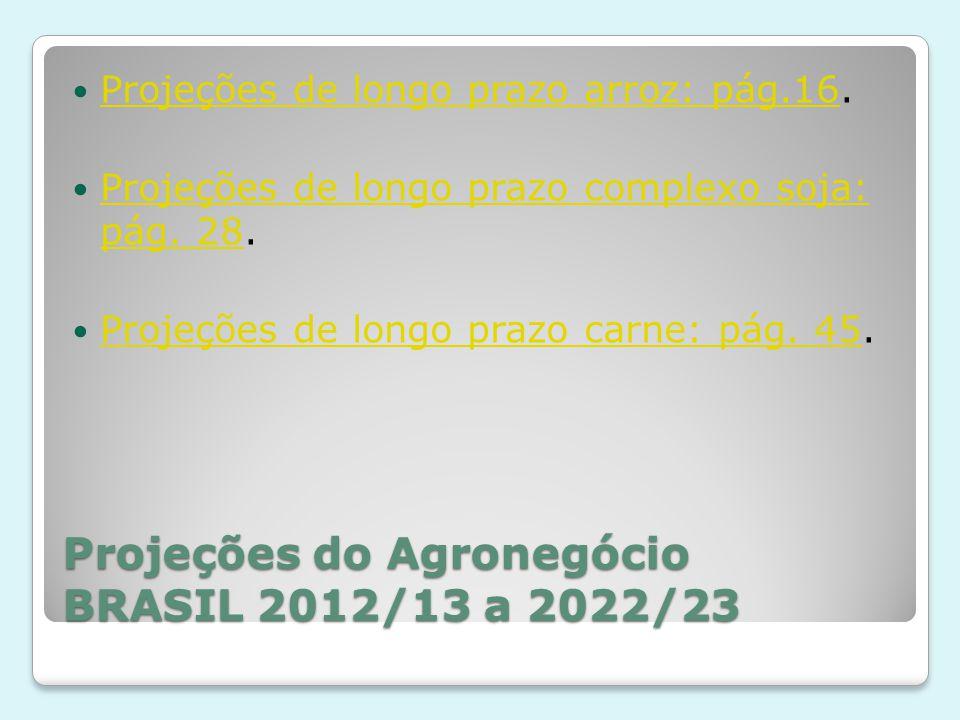 Projeções do Agronegócio BRASIL 2012/13 a 2022/23 Projeções de longo prazo arroz: pág.16. Projeções de longo prazo arroz: pág.16 Projeções de longo pr