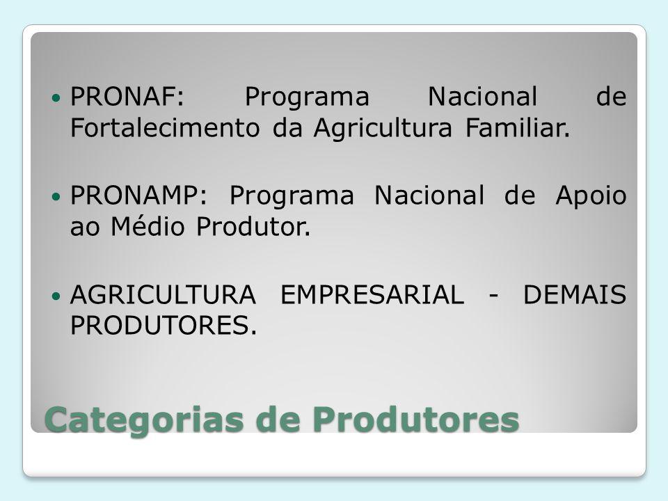 Categorias de Produtores PRONAF: Programa Nacional de Fortalecimento da Agricultura Familiar. PRONAMP: Programa Nacional de Apoio ao Médio Produtor. A