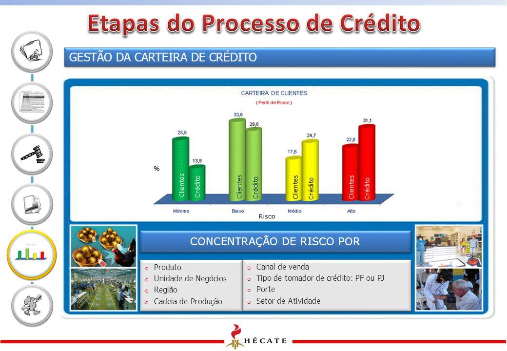 GESTÃO DA CARTEIRA DE CRÉDITO o Produto o Unidade de Negócios o Região o Cadeia de Produção o Produto o Unidade de Negócios o Região o Cadeia de Produção CONCENTRAÇÃO DE RISCO POR o Canal de venda o Tipo de tomador de crédito: PF ou PJ o Porte o Setor de Atividade o Canal de venda o Tipo de tomador de crédito: PF ou PJ o Porte o Setor de Atividade