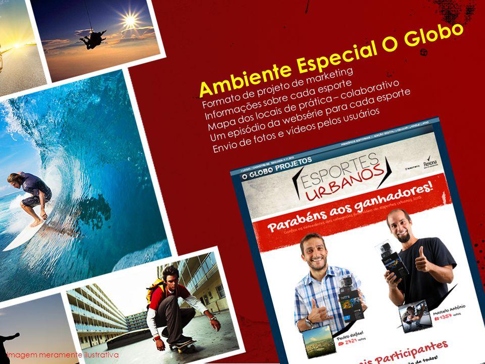 Ambiente Especial O Globo Formato de projeto de marketing Informações sobre cada esporte Mapa dos locais de prática – colaborativo Um episódio da webs