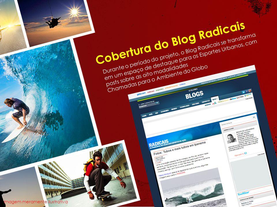 Cobertura do Blog Radicais Durante o período do projeto, o Blog Radicais se transforma em um espaço de destaque para os Esportes Urbanos, com posts sobre as oito modalidades Chamadas para o Ambiente do Globo Imagem meramente ilustrativa