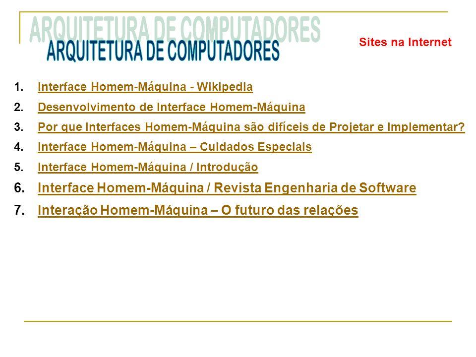 Sites na Internet 1.Interface Homem-Máquina - WikipediaInterface Homem-Máquina - Wikipedia 2.Desenvolvimento de Interface Homem-MáquinaDesenvolvimento de Interface Homem-Máquina 3.Por que Interfaces Homem-Máquina são difíceis de Projetar e Implementar?Por que Interfaces Homem-Máquina são difíceis de Projetar e Implementar.