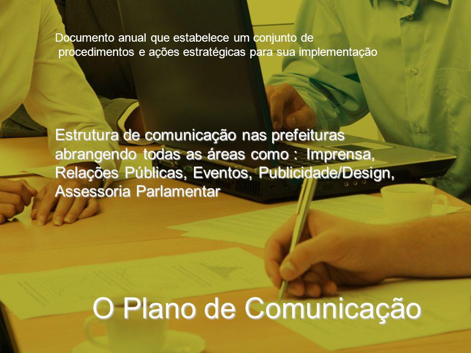 O Plano de Comunicação Estrutura de comunicação nas prefeituras abrangendo todas as áreas como : Imprensa, Relações Públicas, Eventos, Publicidade/Des