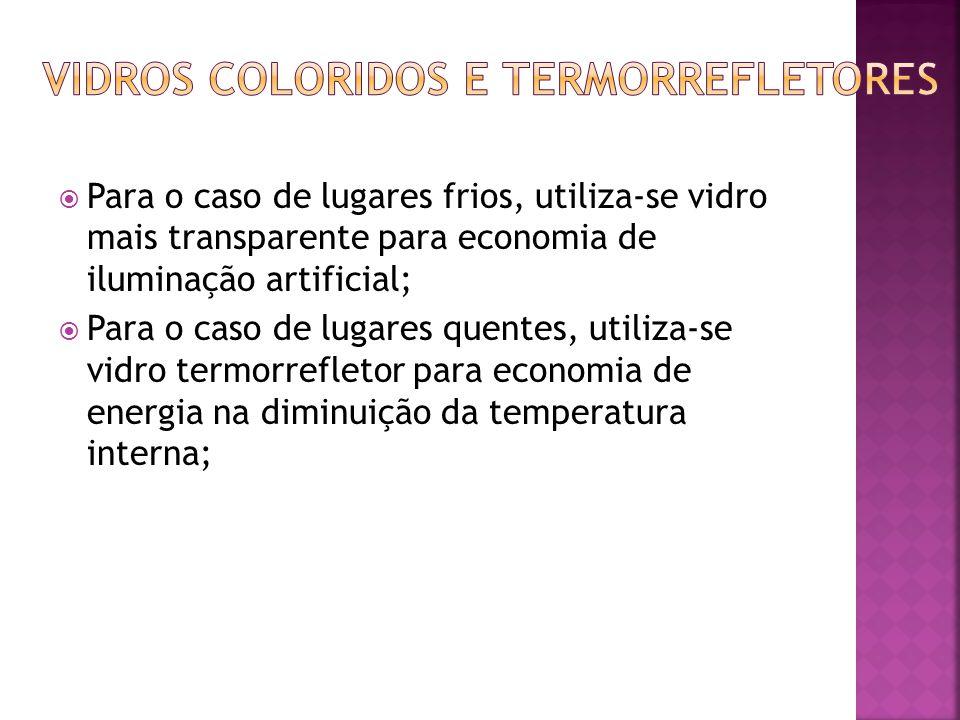  Para o caso de lugares frios, utiliza-se vidro mais transparente para economia de iluminação artificial;  Para o caso de lugares quentes, utiliza-se vidro termorrefletor para economia de energia na diminuição da temperatura interna;