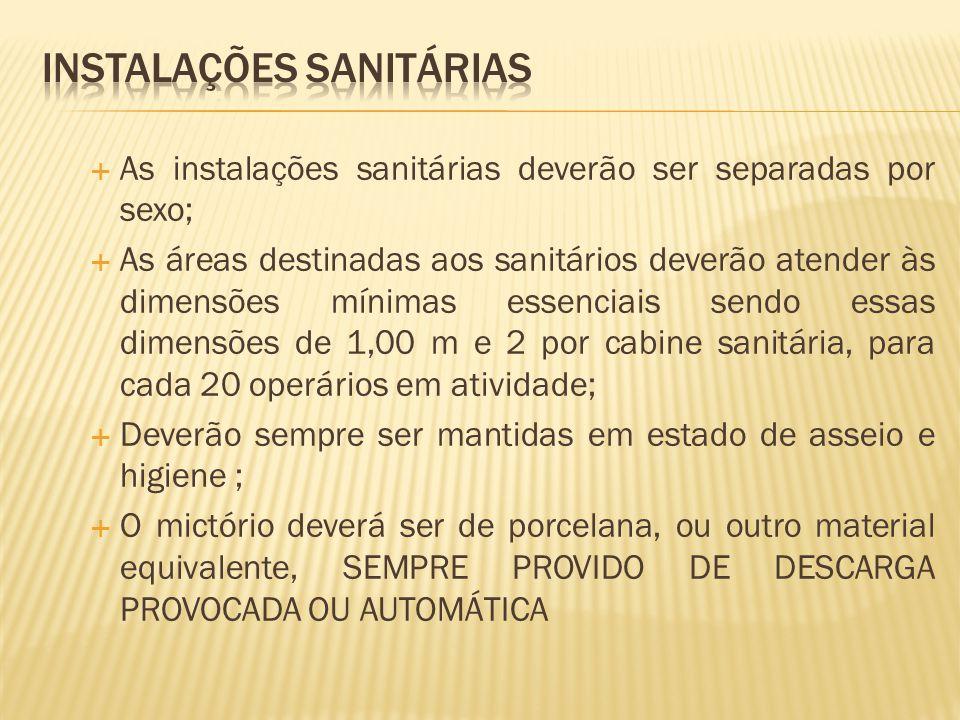  Os mictórios de uso individual devem obedecer uma distância de 0,62 cm entre eles;  Os lavatórios deverão, em locais insalubres obedecer uma escala de 1 torneira para cada 10 funcionários, e em locais normais a escala é de 1 torneira para cada 20 funcionários.
