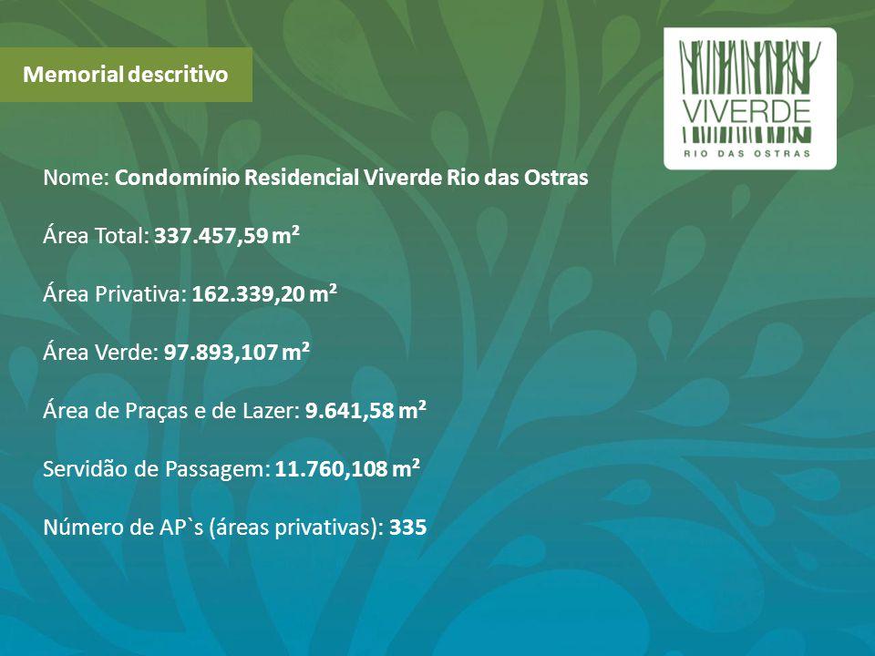 Memorial descritivo Nome: Condomínio Residencial Viverde Rio das Ostras Área Total: 337.457,59 m² Área Privativa: 162.339,20 m² Área Verde: 97.893,107