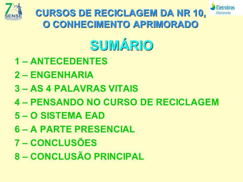 CURSOS DE RECICLAGEM DA NR 10, O CONHECIMENTO APRIMORADO SUMÁRIO 1 – ANTECEDENTES 2 – ENGENHARIA 3 – AS 4 PALAVRAS VITAIS 4 – PENSANDO NO CURSO DE RECICLAGEM 5 – O SISTEMA EAD 6 – A PARTE PRESENCIAL 7 – CONCLUSÕES 8 – CONCLUSÃO PRINCIPAL