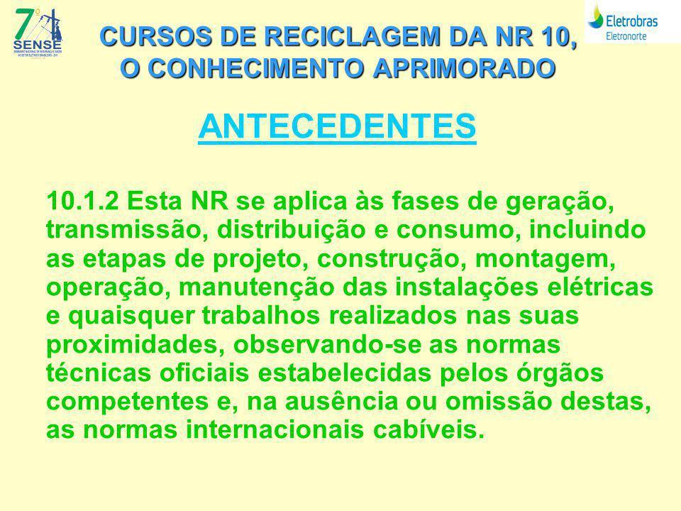 CURSOS DE RECICLAGEM DA NR 10, O CONHECIMENTO APRIMORADO MODELO DO CURSO DE RECICLAGEM DEFINIÇÕES FUNDAMENTAIS: 4 – DEFINIR A CARGA HORARIA MINIMA DE 40 HORAS AULA 5 – DEFINIR PARCEIRO PARA A PARTE DE EAD, NO CASO A FUNCOGE 6 – O CURSO SOFRERA AVALIAÇÃO DE CONTEUDO E REAÇÃO NO PADRÃO DA UCEL