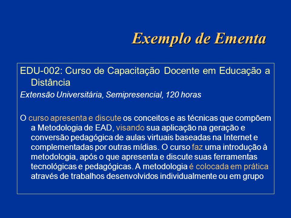 Exemplo de Ementa EDU-002: Curso de Capacitação Docente em Educação a Distância Extensão Universitária, Semipresencial, 120 horas O curso apresenta e