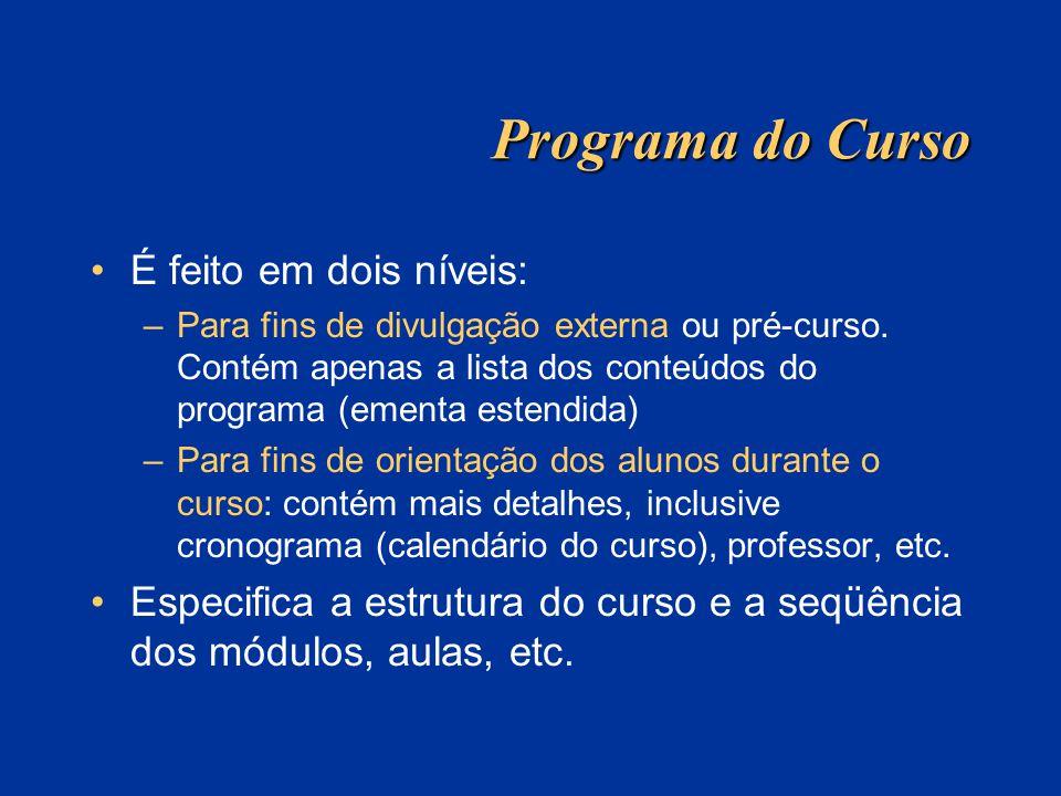 Programa do Curso É feito em dois níveis: –Para fins de divulgação externa ou pré-curso. Contém apenas a lista dos conteúdos do programa (ementa esten