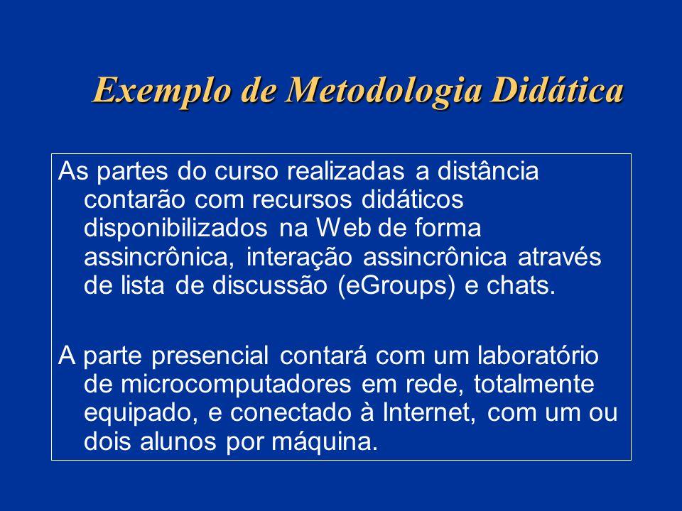 Exemplo de Metodologia Didática As partes do curso realizadas a distância contarão com recursos didáticos disponibilizados na Web de forma assincrônic
