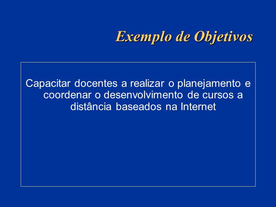 Exemplo de Objetivos Capacitar docentes a realizar o planejamento e coordenar o desenvolvimento de cursos a distância baseados na Internet