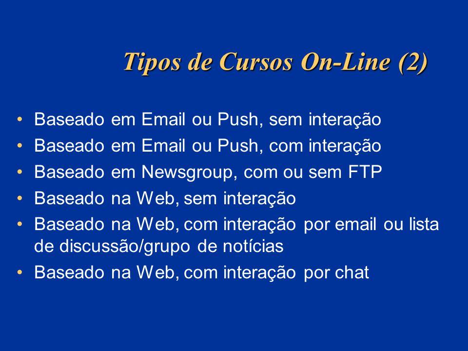 Tipos de Cursos On-Line (2) Baseado em Email ou Push, sem interação Baseado em Email ou Push, com interação Baseado em Newsgroup, com ou sem FTP Basea