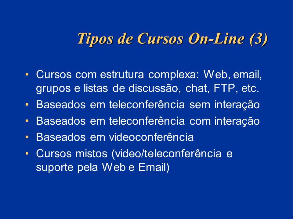 Tipos de Cursos On-Line (3) Cursos com estrutura complexa: Web, email, grupos e listas de discussão, chat, FTP, etc. Baseados em teleconferência sem i