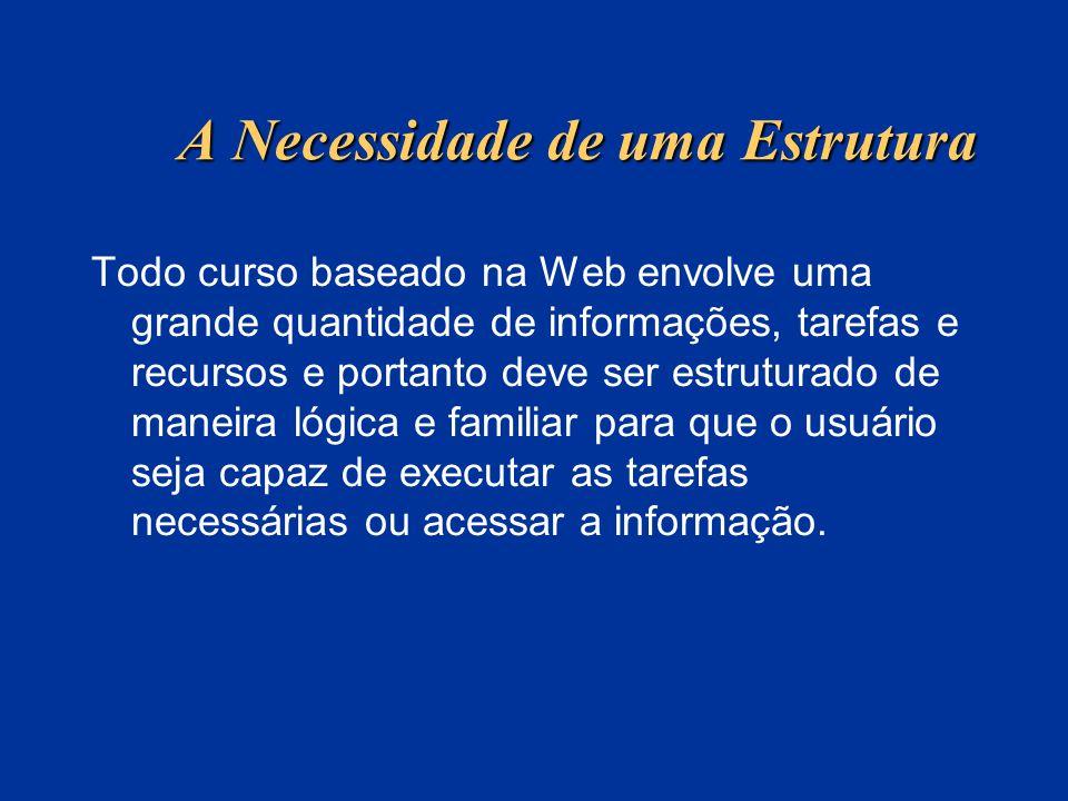 A Necessidade de uma Estrutura Todo curso baseado na Web envolve uma grande quantidade de informações, tarefas e recursos e portanto deve ser estrutur