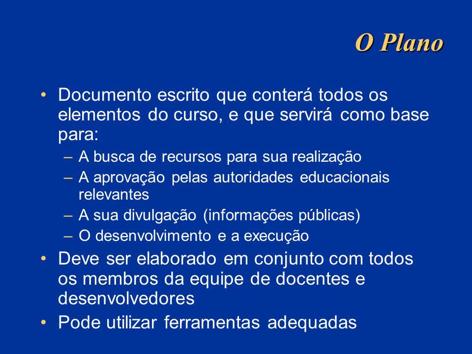 O Plano Documento escrito que conterá todos os elementos do curso, e que servirá como base para: –A busca de recursos para sua realização –A aprovação