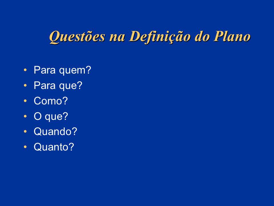 Questões na Definição do Plano Para quem? Para que? Como? O que? Quando? Quanto?