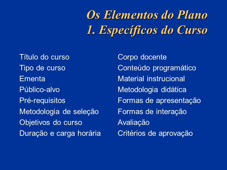 Os Elementos do Plano 1. Específicos do Curso Título do curso Tipo de curso Ementa Público-alvo Pré-requisitos Metodologia de seleção Objetivos do cur