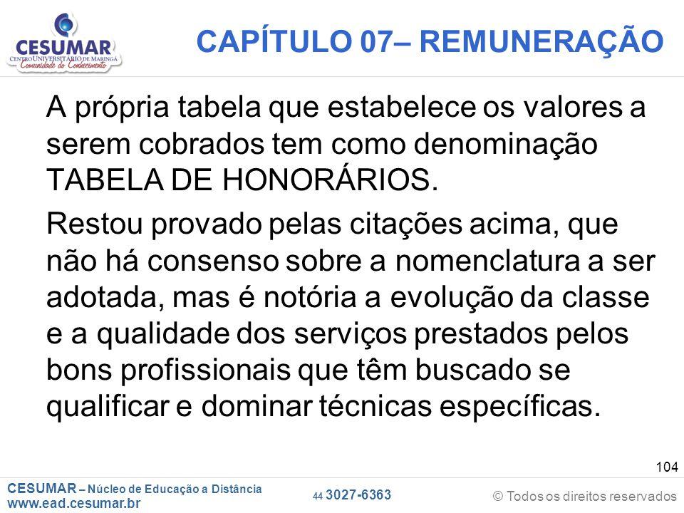 CESUMAR – Núcleo de Educação a Distância www.ead.cesumar.br © Todos os direitos reservados 44 3027-6363 104 CAPÍTULO 07– REMUNERAÇÃO A própria tabela