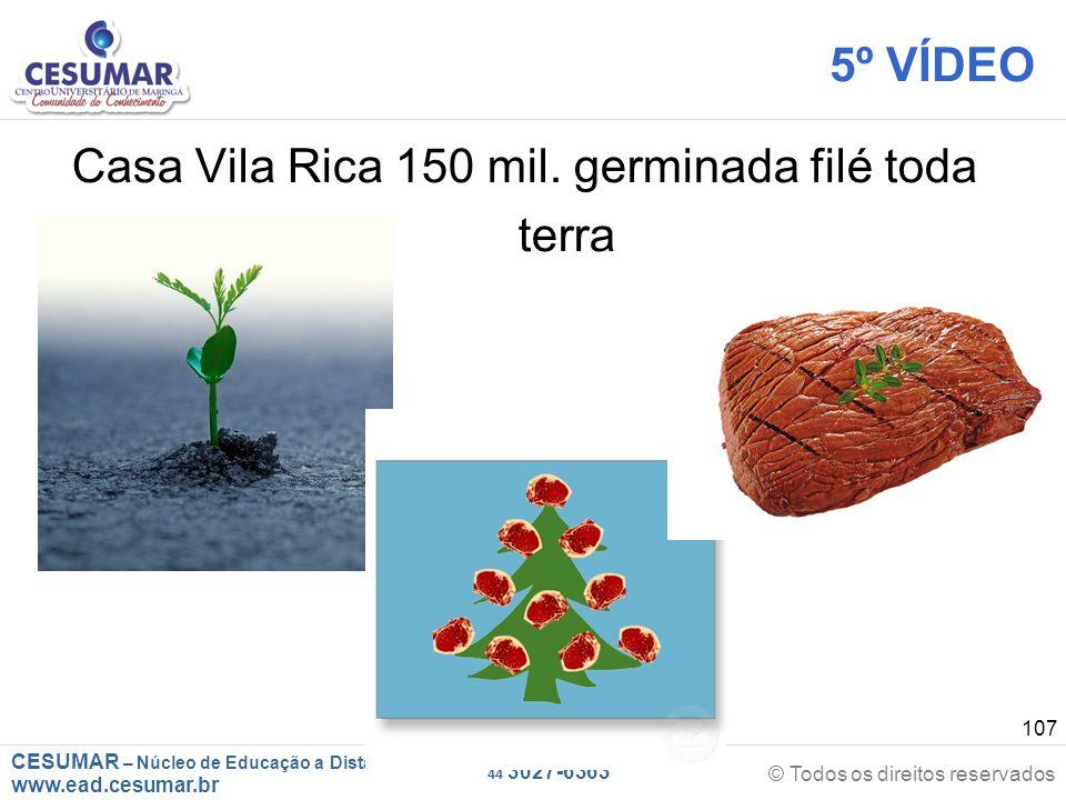 CESUMAR – Núcleo de Educação a Distância www.ead.cesumar.br © Todos os direitos reservados 44 3027-6363 107 5º VÍDEO Casa Vila Rica 150 mil. germinada